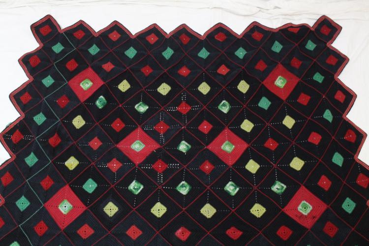 Vintage 1940s Geometric Crochet Blanket in Black