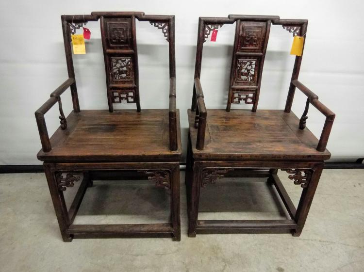 Pair of asian arm chairs hand carved fret work back panel w for Asian furniture dc