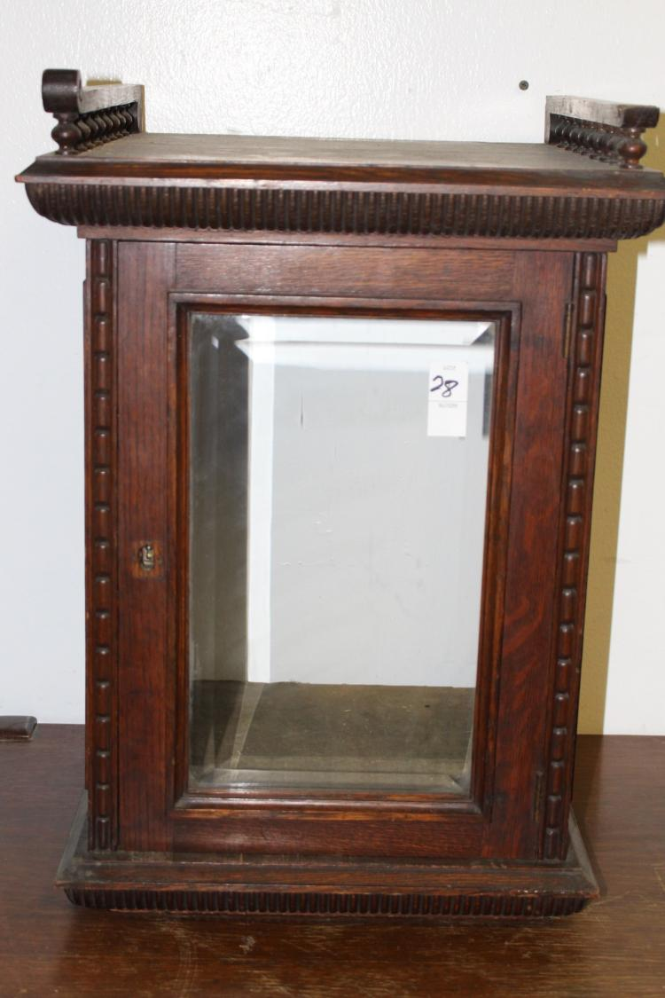 Victorian Table Top Display Cabinet With Beveled Glass