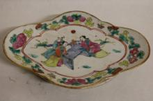 Asian Dish, hand painted under glaze, with people