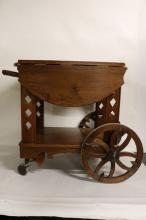 Antique Mahogany Tea Cart with Drop Leaf sides & Wood Wheels