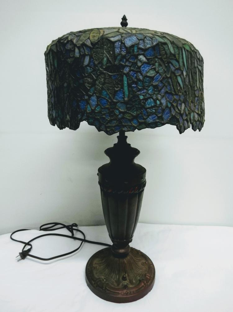 Vintage Lead Glass Tiffany Style Table Lamp