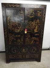 Asian Wardrobe, all hand painted, double doors, 2 small draws inside one bottom draw and lift shelf for hidden storage