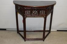 Asian Bamboo and Wood Console Table, 1/2 octagon