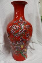 Large Red Chinese Vase signed