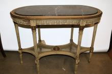 Antique French Black Marble Top Oval Parlor Table