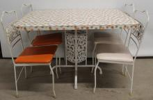 Wrought Iron Table & Chair Set, great Colorful Top, circa 1940