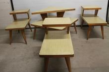 Set Mid-century Blonde Formica Top Parlor Table Set
