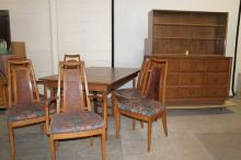 Mid-Century Modern Dining set, Table, 6 Chairs, China Cabinet