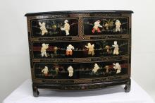 Two over two drawer black laquer oriental dresser