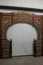 Antique hand carved oriental Opium bed entrance