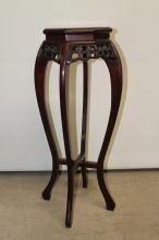Tall antique oriental pedestal or plant stand