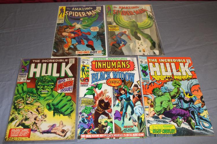 Silver age lot 5, Spiderman, Hulk 102 & more