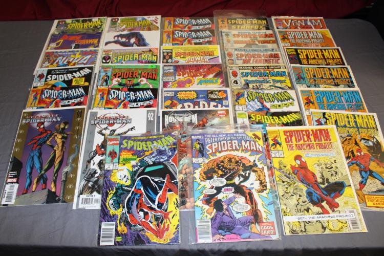 lot of 32 Spiderman comics, near mint to mint