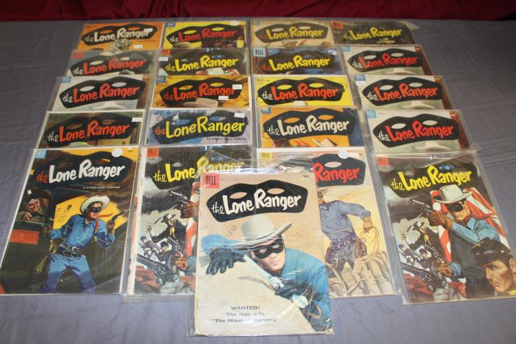 Fantastic 21 issues of Lone Ranger, golden age lot of Western 10 cent issues