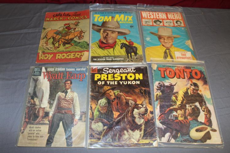 lot of 6 Western comics 1940's & up Cowboy etc.
