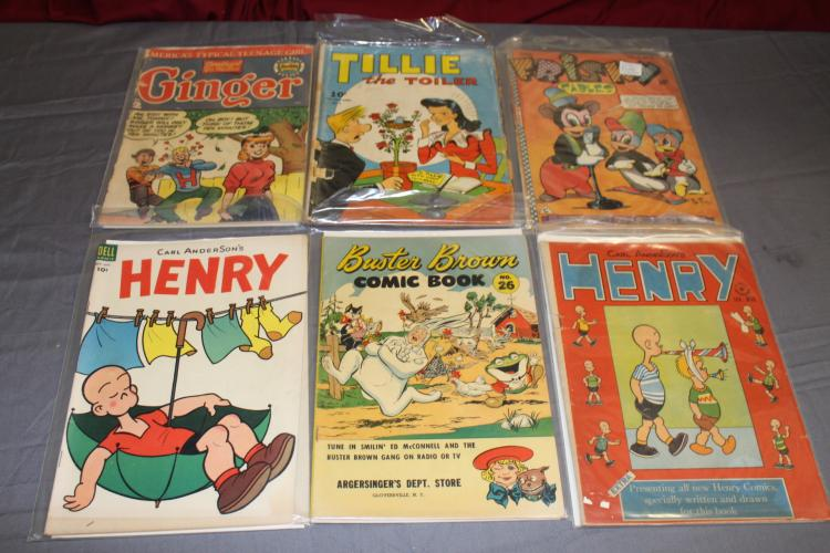 Golden age lot of 6 comics, Henry, Tillie the Toiler, etc.