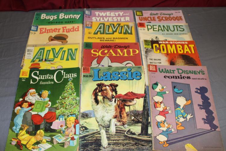 lot of 12 early Dell comics super comics, very good to very fine