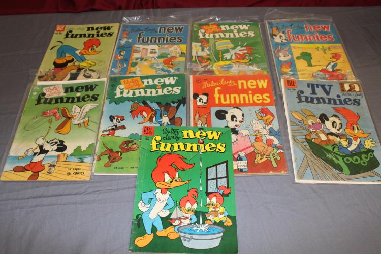 New Funnies, 9 comic lot, great old comics, fine shape
