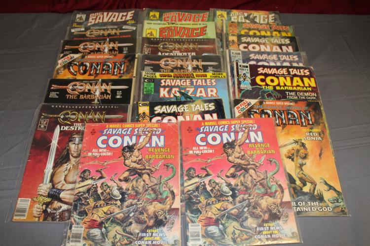 lot of 20 Magazines, Savage Tales, Conan, Doc Savage