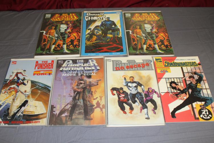 Punisher and related lot of 7 TPB's, very fine to near mint