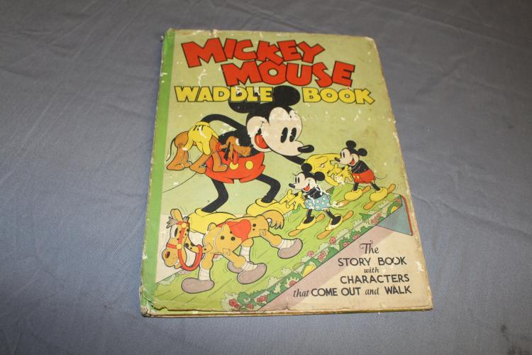 Nice early Disney Mickey Mouse Waddle Book, 1930's with DJ, great early Mickey