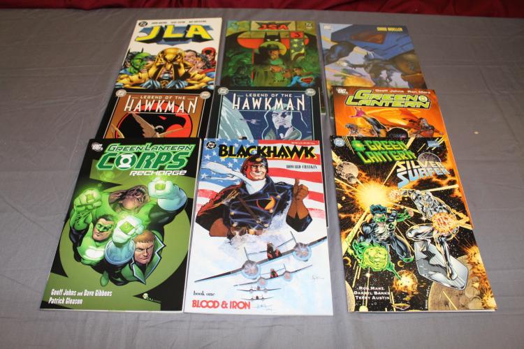 lot of 9 TPB's near mint Green Lantern JLA, Hawkman, Black Hawk