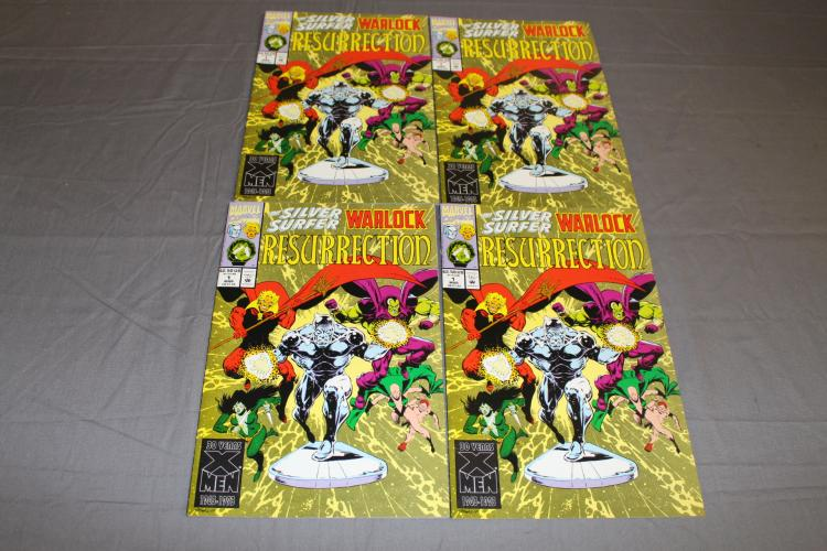 4 mint copies Silver Surfer & Warlock Resurrection #1 Marvel
