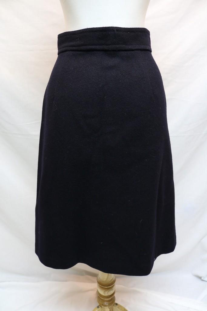 1960 s navy blue wool skirt a line shape
