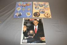 Obama rare collection 16 pins, & news week
