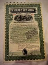1899 $1000. Chicago and Alton Railroad Company Gold Bond with coupons