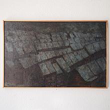 Pasteels Pierre (1936-1977) : Huile sur panneau unalit,