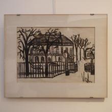 Vosch Marc (1947-1989) : Dessin au fusain, maison de maître à la campagne, signée en bas à droite, dim: 25 x 35 cm