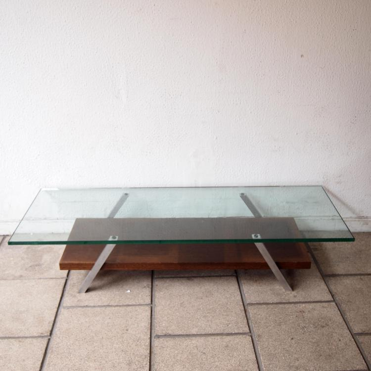 Table basse design vers 1960 plateau rectangulaire en verr for Table basse design solde