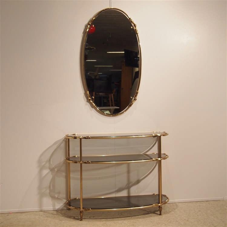 Console avec miroir cr ation vers 1980 structure tubulaire for Console avec miroir