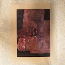 Bminski Charles : Technique mixte, gouache et collage sur papier, signée au