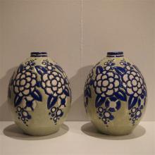 Boch Frères La Louviere / keramis : Paire de vases ovoide Art-Déco, céramiq