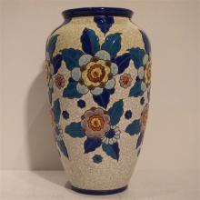 Boch Kéramis : Vase Art-Déco, céramique émaillée, modèle 914, décor floral