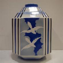 Boch La louviere : Vase Art-Déco, céramique émaillée, forme 1024, décor ave
