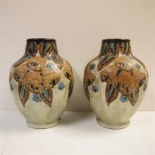 Keramis made in Belgium : Paire de vases Art-Déco, grés Keramis, modèle 909