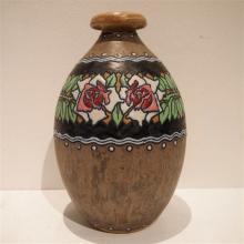 Kéramis / Grès : Vase ovoïde Art-déco, grès émaillé, décor floral avec fris