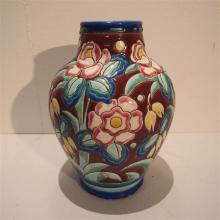 Kéramis : Vase ovoide Art-Déco, forme 909, céramique émaillée, décor floral