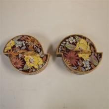 Raymond Chevalier / Boch La louvière : Lot de 2 bonbonnières, décor floral