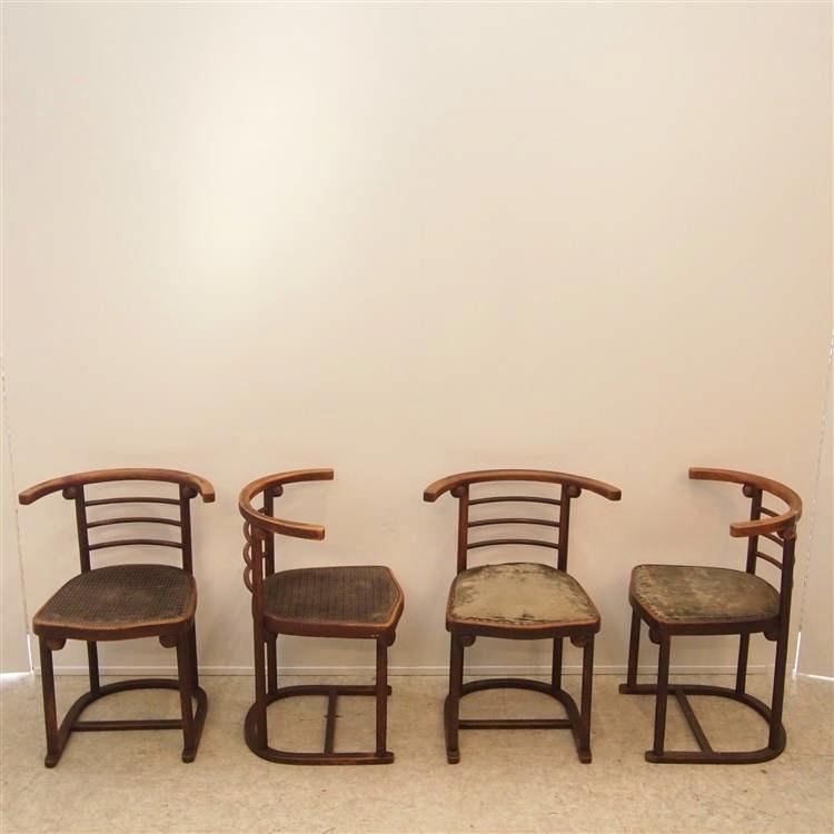 Hoffmann joseph mudus suite de 4 chaises 1900 mod le de for Chaise auto pour bb