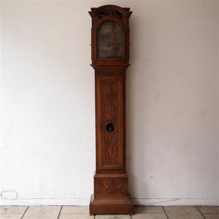 horloge de parquet li geoise 18es ch ne massif mouvement. Black Bedroom Furniture Sets. Home Design Ideas