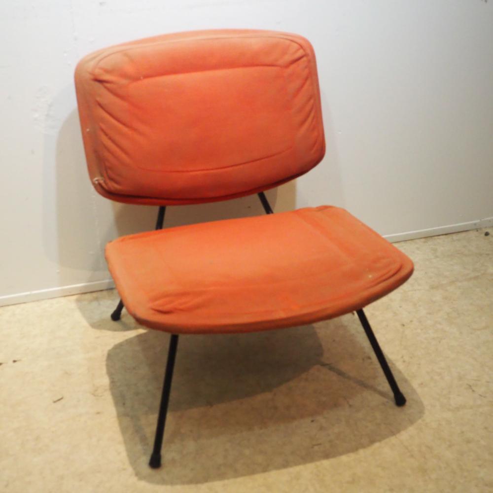 Paulin Pierre (1927-2009) / Thonet : Chauffeuse vers 1959, modèle CM190, assise et dossier en contre