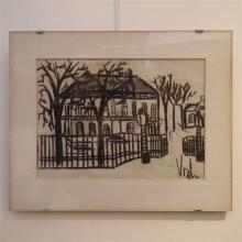 Vosch Marc (1947-1989) : Dessin au fusain, maison de maître à la campagne,