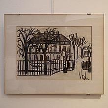 Vosch Marc (1947-1989) : Dessin au fusain, maison