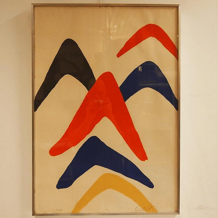 Calder Alexandre (1898-1976) : Lithographie couleur,