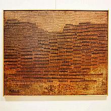 Pasteels Pierre (1936-1977) : Huile sur panneau unalite,